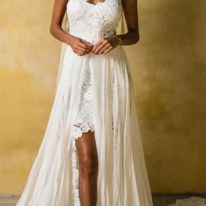 Lace Prom Dress,White Evening Dress..