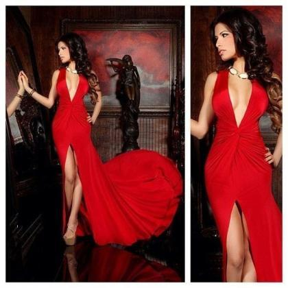 Sexy Deep V Neck Long Sexy Red Prom..