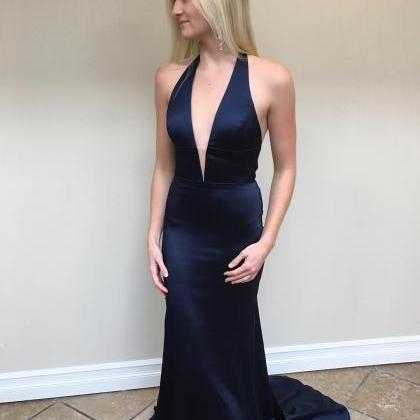 Charming Navy Mermaid Evening Dress..