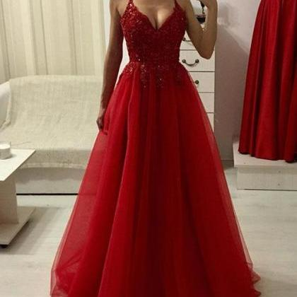 Red v neck lace tulle long prom dre..