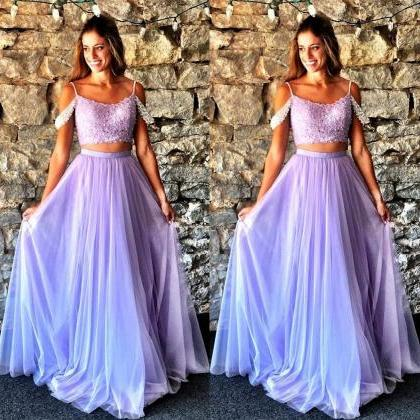 Lavender Two Pieces Prom Dresses