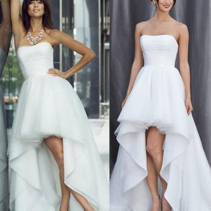 Sexy hi-low Wedding Dress,Strapless..