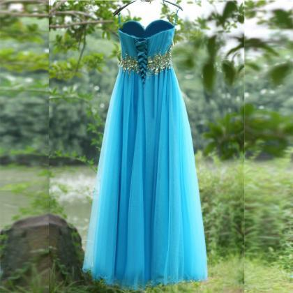 Blue Crystals Prom Dress,Spaghetti ..