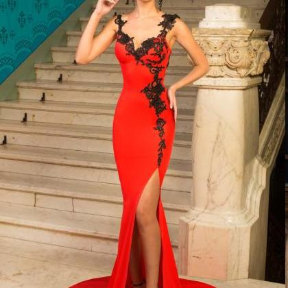 Sexy Red Mermaid Prom Dress,Split D..
