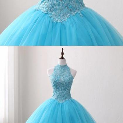 Blue Lace O Neck Strapless Long Tul..