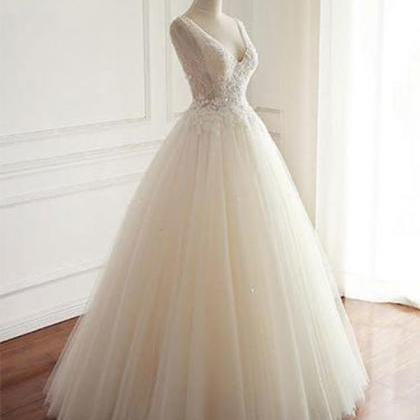Charming V Neck White Tulle Wedding..