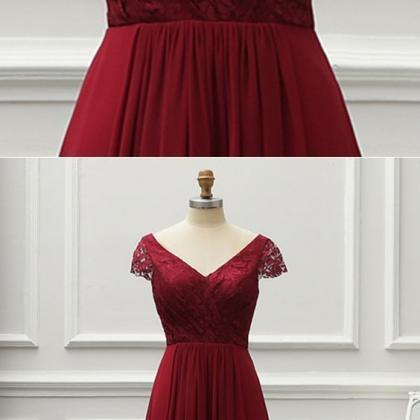 Simple Pretty Burgundy Lace Cap Sle..