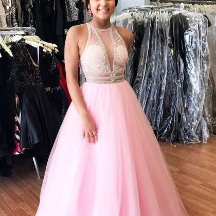 Elegant Pink Tulle Prom Dress, Long..