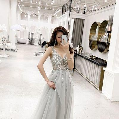 Sexy Tulle Long Prom Dress, Crystal..