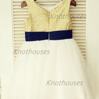 Gold Sequin IvoryTulle Flower Girl ..