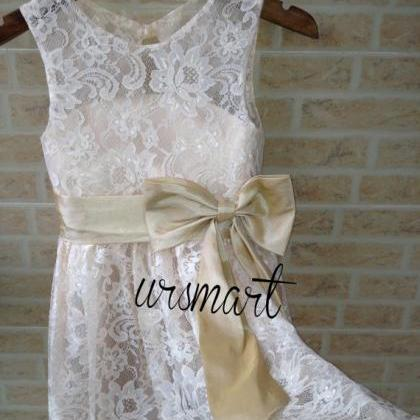 champagne lace flower girl dress we..