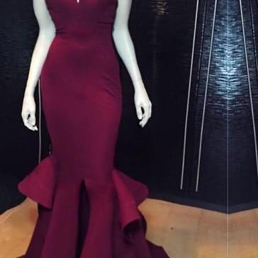 Sexy V-neck Sleeveless Mermaid Prom..