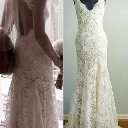 Mermaid Lace Wedding Dresses,Long W..