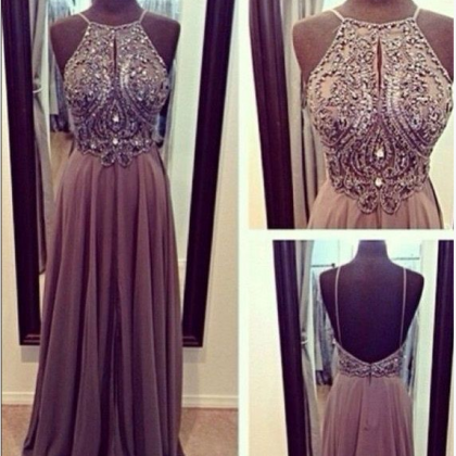 Beaded Embellished Halter Neck Floo..