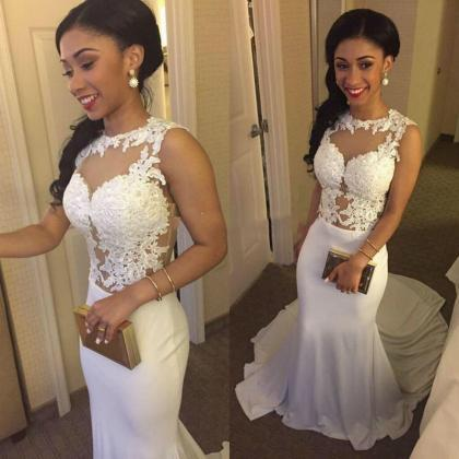 Sexy Lace White Long Prom Dresses, ..