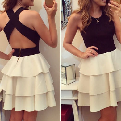 Black and White Prom Dress,Open Bac..