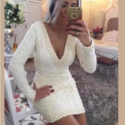 New Arrival Straight V Neckline Long Sleeve Evening Dresses sHORT Women White Lace Evening Dress 2016