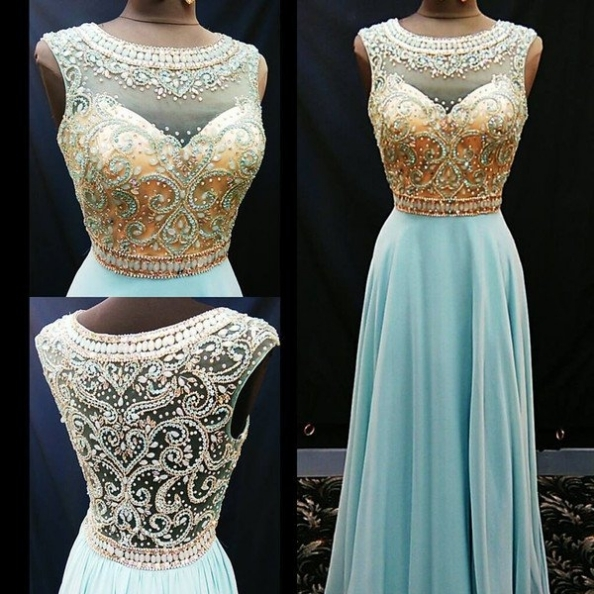 Long A-Line Scoop Crystal Detailing Chiffon Blue Prom Dresses