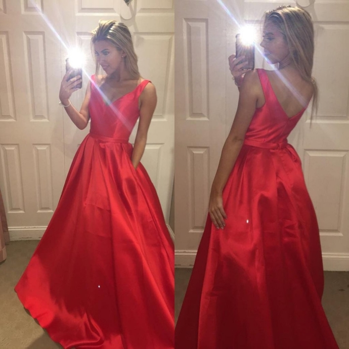 Red V-Neck A-line Sleeveless Satin Prom Dresses