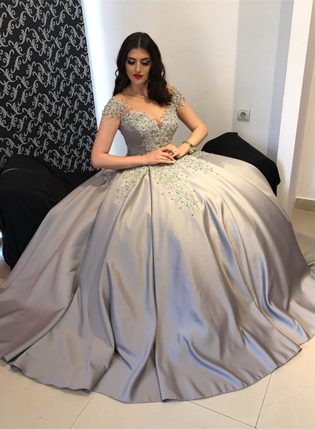 Silver Ball Gowns Dress,cap Sleeves Wedding Dress,ball Gowns Wedding ...