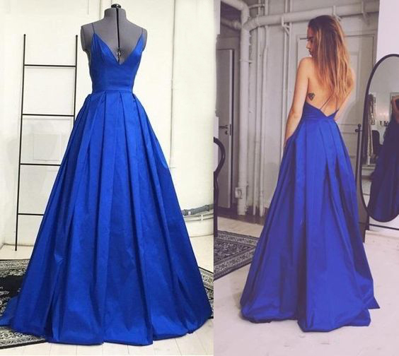 Charming Prom Dress,Spaghetti Strap Prom Dress,Backless Prom Dress,Satin Prom Dress,A-Line Evening Dress