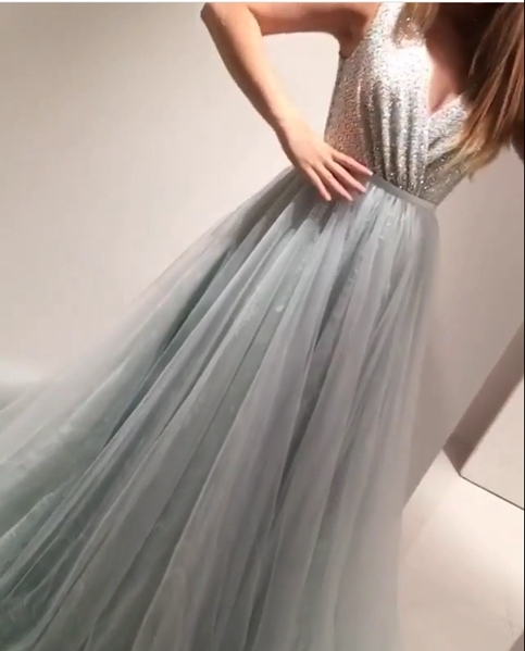 Charming Prom Dress,Tulle Prom Dress,A-Line Prom Dress,Beading Prom Dress