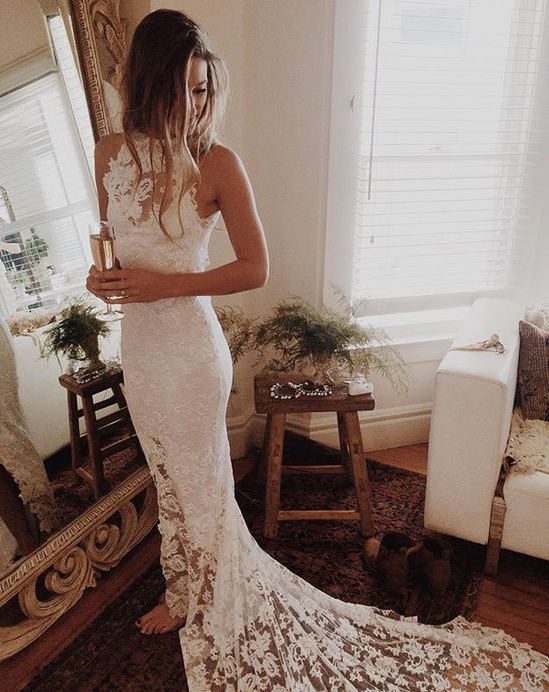 Romantic Boho Wedding Dresses,Beach Wedding Dress,High Neck Wedding Gowns,Mermaid Ivory Dress,Princess Backless Lace Skirt Wedding Gowns