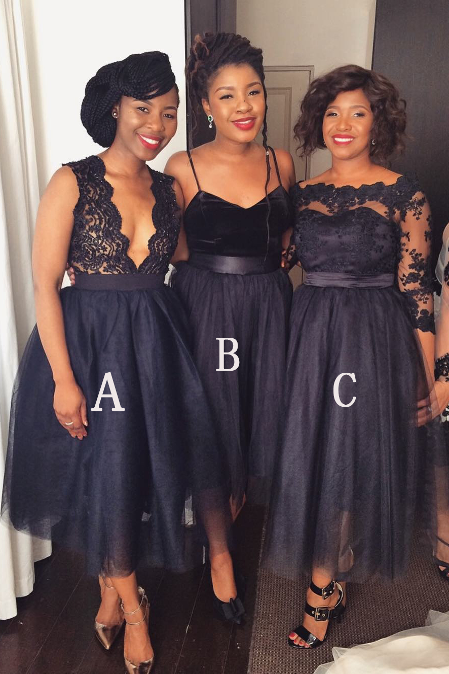 Midi Bridesmaid Dresses A Line Dress Tulle Custom Navy Blue Prom Wedding Party Lace