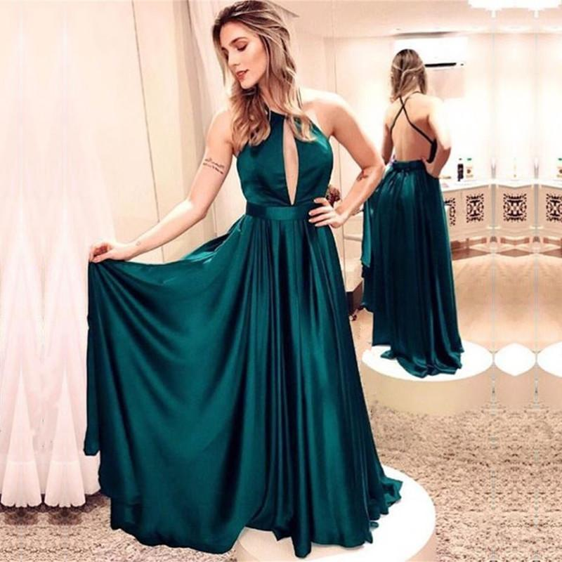 Emerald Green Satin Long Bridesmaid Dresses Backless Evening Gowns