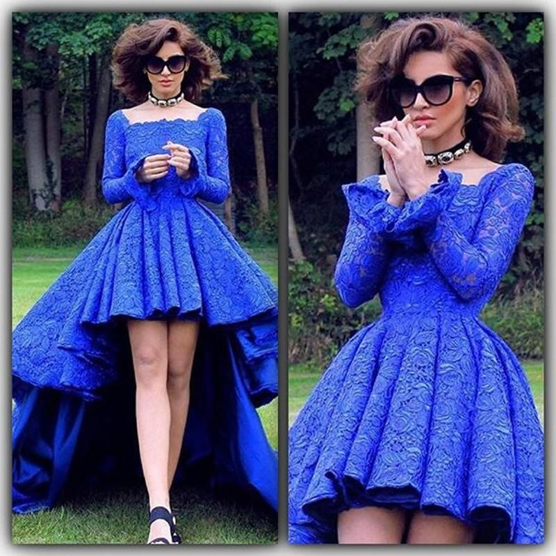 Royal Blue Lace High Low Prom Dresses Formal Backless Long Sleeve