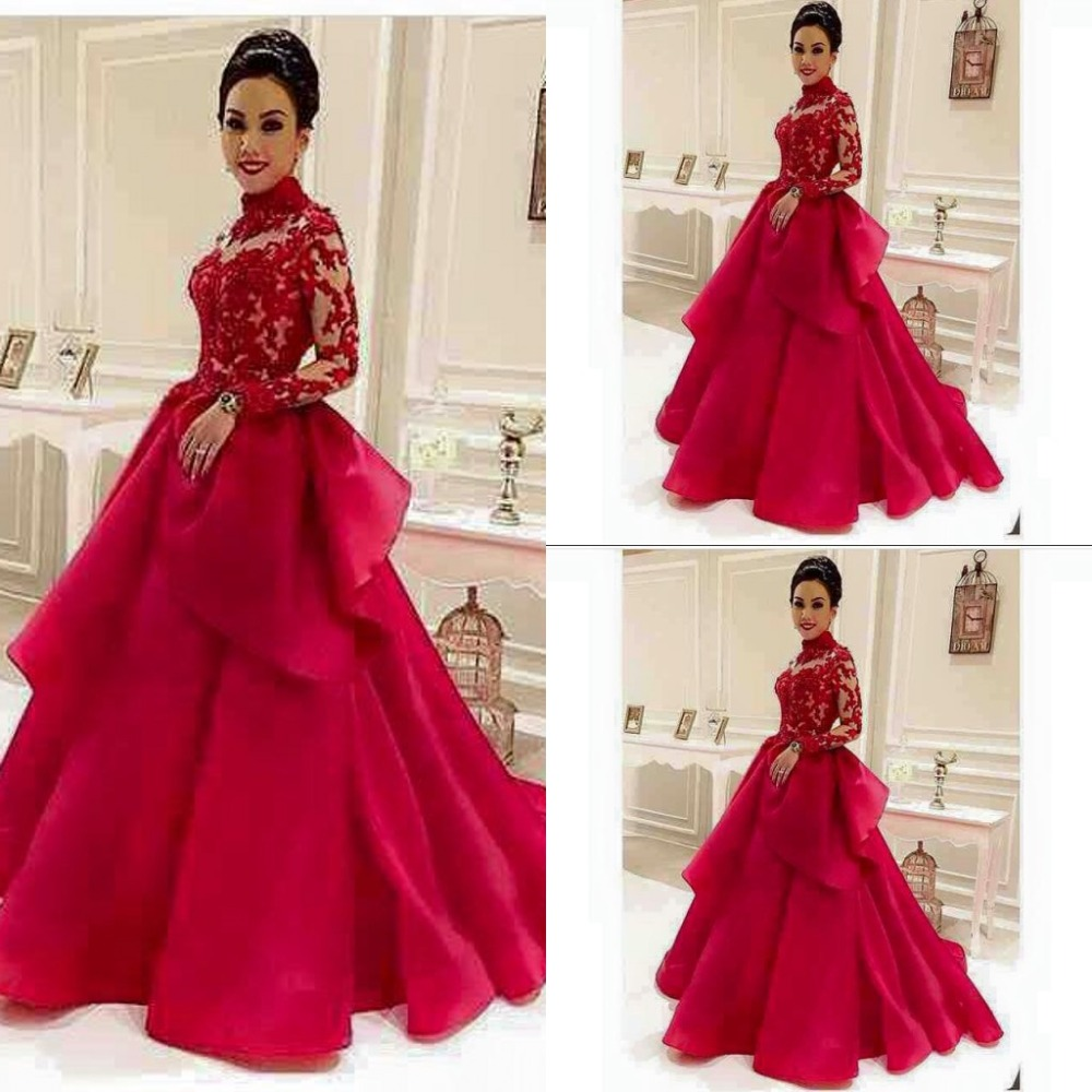 High Neck Red See Through Long Sleeve Lace Evening Dresses Dubai Style Muslim Formal Dress