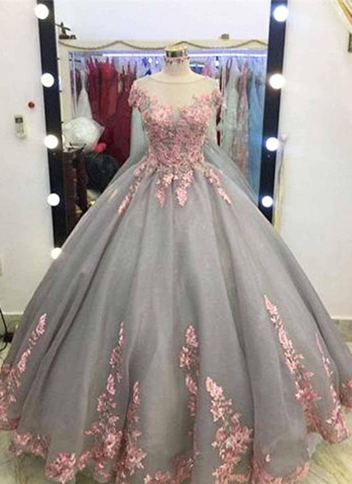 Unique Grey Long Ball Gown,Appliqued Cap Sleeves Prom Dress,Big ...