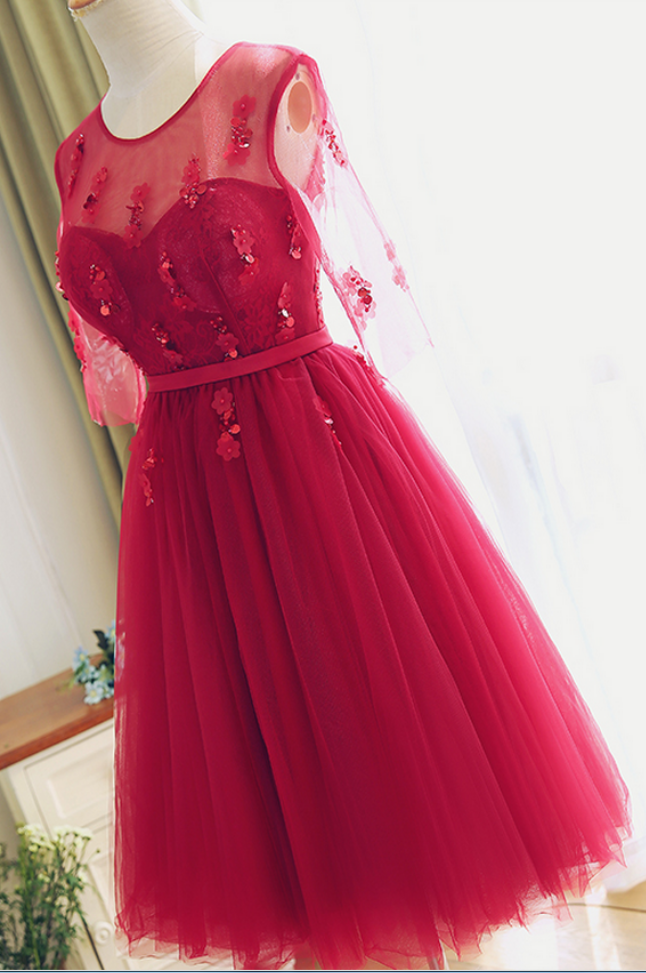eaac51ad10 Tea length Red Lace Bridesmaid Dress,Half Sleeves Lace Prom Dress,Red Lace  Cocktail