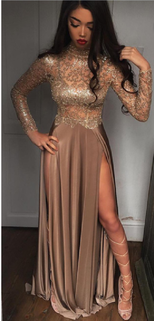 6e9aba6dac8b High Neck Champagne Gold Sexy Evening Dress Splits Long Sleeve Illusion Prom  Dress