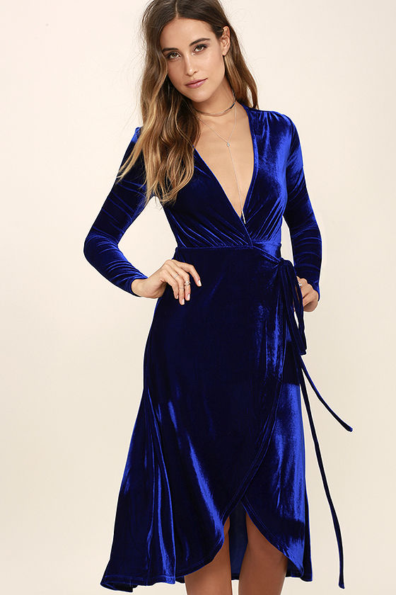 ede4e827108 ENCHANT ME COBALT BLUE VELVET MIDI WRAP DRESS on Luulla