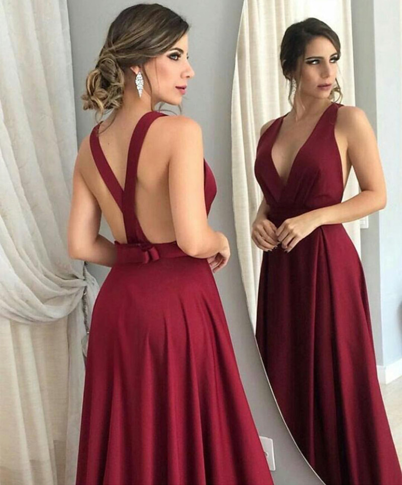 Burgundy Bridesmaid Dresses Open Back Prom Dress Long Formal