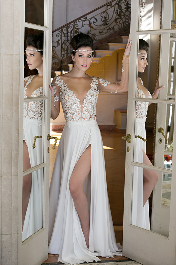 26ed5e918bae Sheer Long Sleeves Boho Bridal Wedding Dress With Slit on Luulla