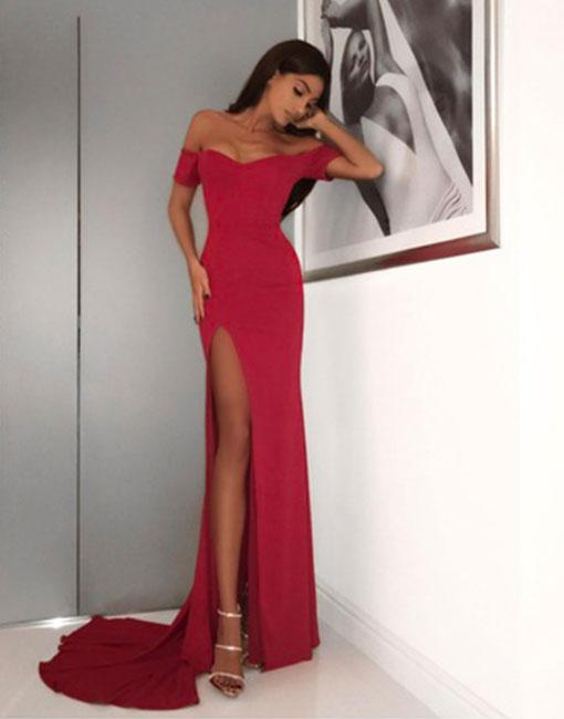 aa3d20f10e17 Red Off Shoulder Mermaid Prom Dress