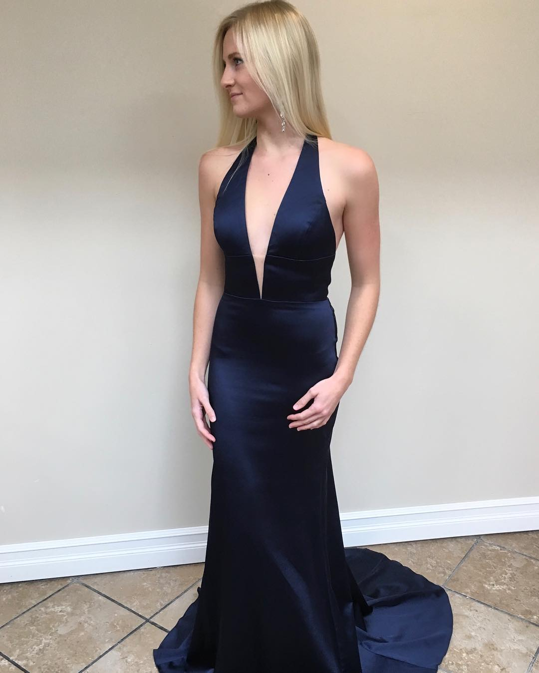 Charming Navy Mermaid Evening Dress, Sleeveless Long Prom Dress, Sexy Halter Mermaid Prom Dresses