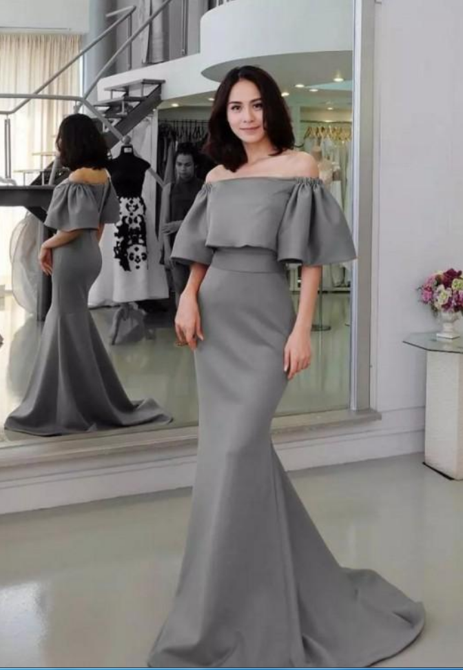 soft and light choose clearance dependable performance Gray Satin Mermaid Evening Dresses Party Elegant Court Train Sexy Simple  Off Shoulder Red Carpet Celebrity Formal Prom Gowns Women Wear