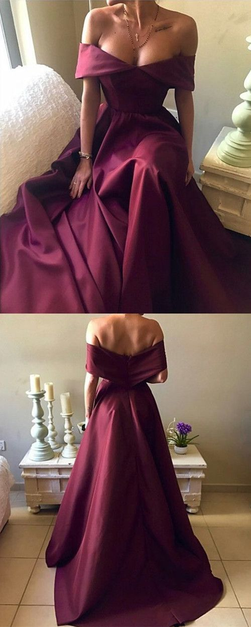 77594a736b Dark Red Satin Long A-line Off Shoulder Evening Gowns 2018 Sexy Prom Dress