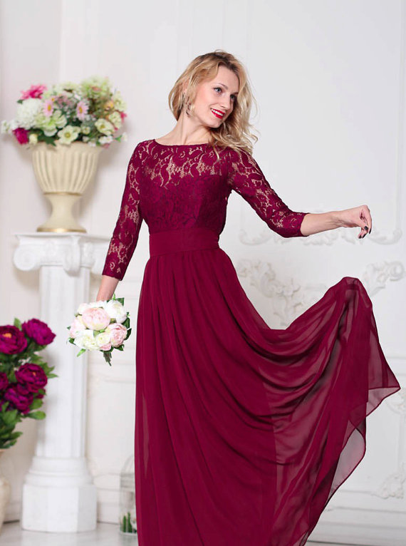 Long Sleeves Bridesmaid Dress Modest Lace Dreses Elegant