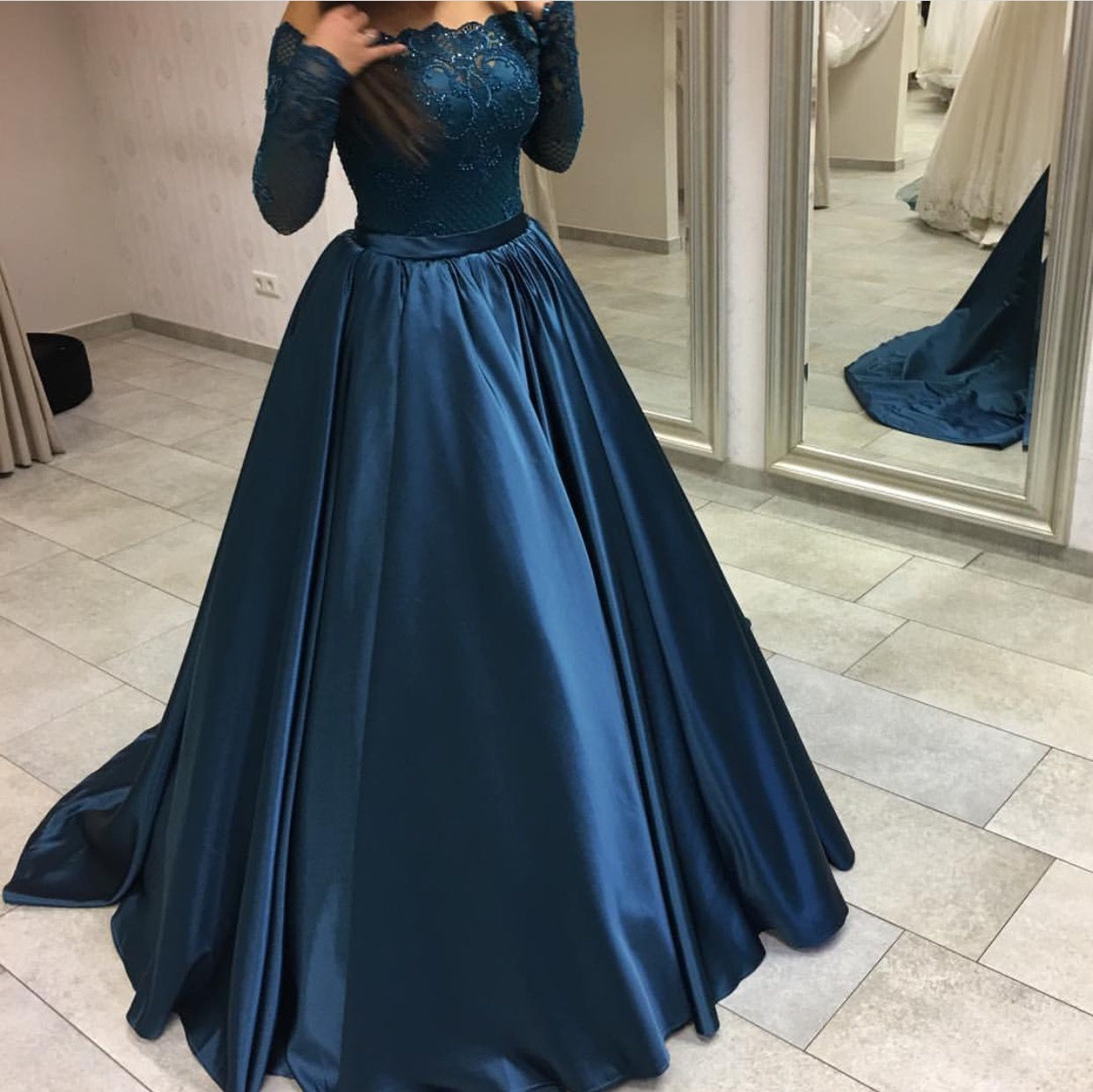 Navy Blue Satin Long Sleeves Prom Dresses Ball Gowns,off The ...