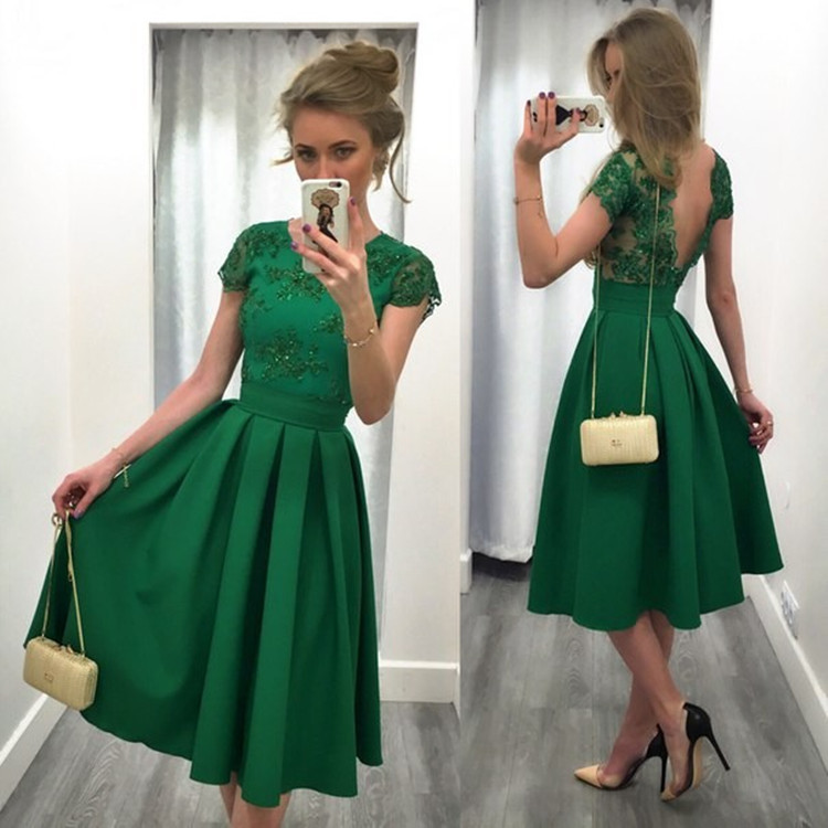 Green Short Two Piece Cocktail Dress 2019 Cap Sleeves Beaded A-line Satin Mini Prom Party Gown Custom Made Homecoming Dress At All Costs Weddings & Events