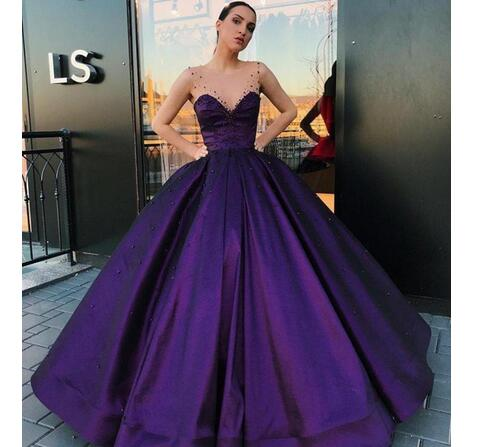 b0929ecf220b Romantic Purple Ball Gown Quinceanera Dresses Sheer Jewel Crystal Beaded  Formal Evening Gowns Prom Dress Custom