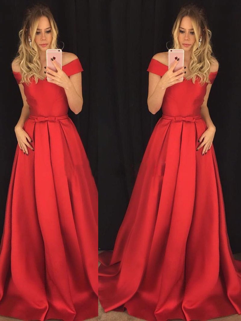 A-line Off the Shoulder Red Satin Cheap Long Prom Dresses