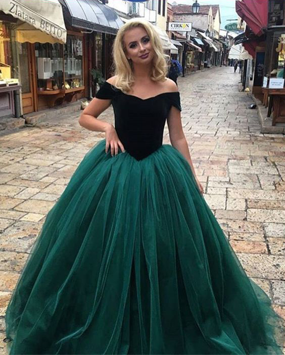 Ball Gown Prom Dress,Off Shoulder Sleeves Green Prom Gown,Dark Green ...