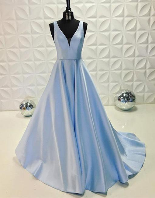 Simple Prom Dressesnew Prom Gownvintage Prom Gownslight Blue V