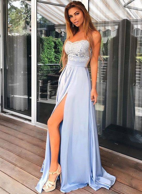 Charming Light Blue Prom Dress, Spaghetti Straps Chiffon Prom Dress, Long Lace Top Prom Dress, Split Evening Party Gowns