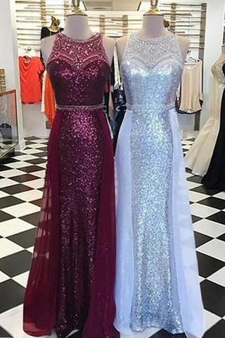 Luxurious, long ,scoop neck ,customize ,sequins and beaded evening dress ,with tulle skirt, Formal Evening Gowns